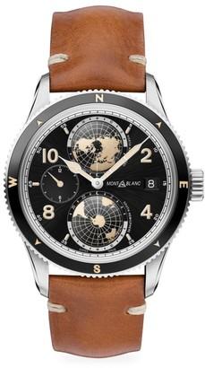 Montblanc 1858 Ceramic & Leather Strap Geosphere Watch