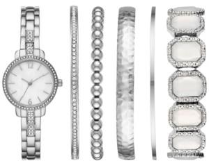 Folio Women's Silver-Tone Bracelet Watch 28mm Box Set