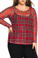 City Chic Sheer Tartan Top