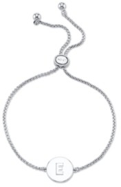 Unwritten Coin Initial Silver Plated Bolo Bracelet