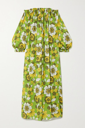 Dodo Bar Or Julie Off-the-shoulder Gathered Floral-print Cotton-voile Maxi Dress - Green