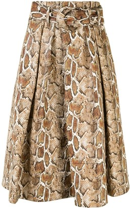 Proenza Schouler White Label Snake-Print Belted Mini Skirt