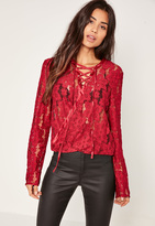 Missguided Burgundy Lace Wrap Lace Up Front Crop Top