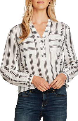 Vince Camuto Desert Pathways Stripe Long Sleeve Blouse