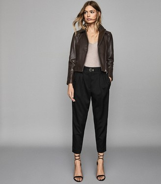Reiss Shae - Leather Biker Jacket in Chocolate