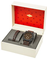 Fossil Fs5251set Machine Chronograph Leather Strap Watch And Bracelet Set, Brown