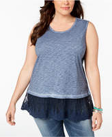 Style&Co. Style & Co Plus Size Sheer-Hem Sleeveless Top, Created for Macy's