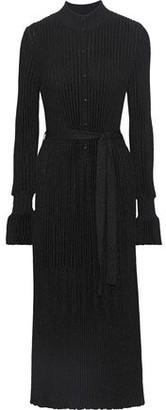 Carolina Herrera Metallic Ribbed-knit Midi Dress