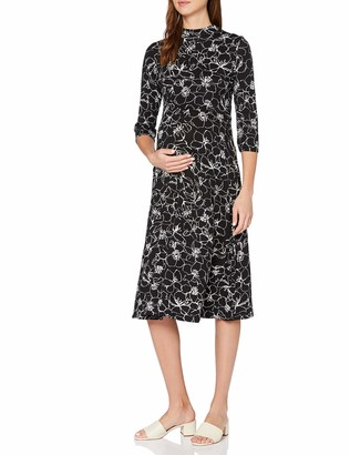 Dorothy Perkins Women's Maternity Black Sketch Floral Print Jersey Midi Dress 14