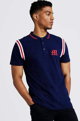 BoohoomanBoohooMAN Mens Navy MAN Official Polo With Tape Detail, Navy