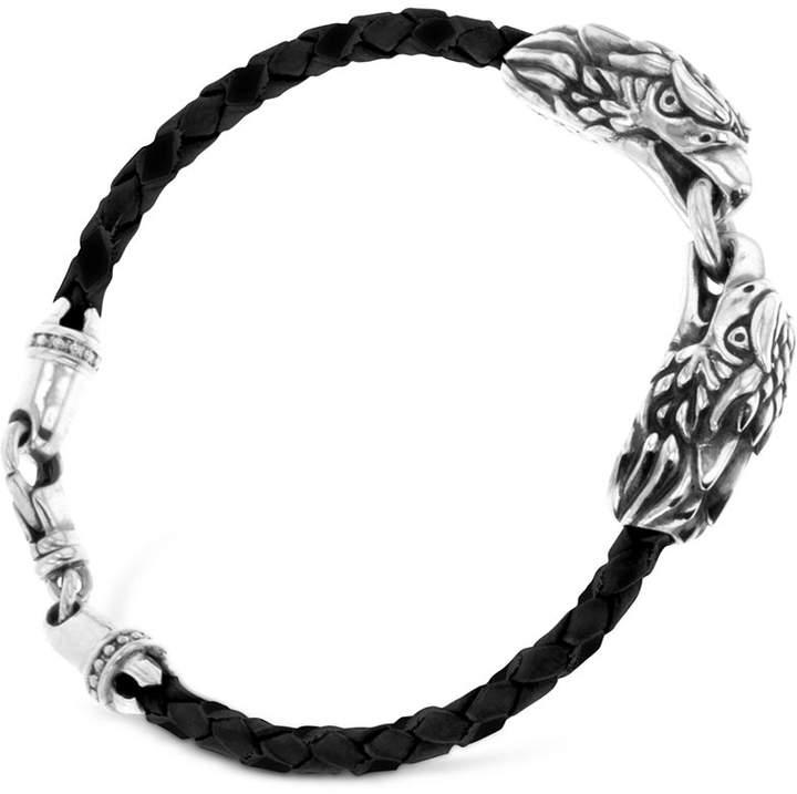King Baby Studio Men's Double Eagle Leather Bracelet in Sterling Silver