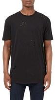 Topman Men's Ripped Longline Crewneck T-Shirt