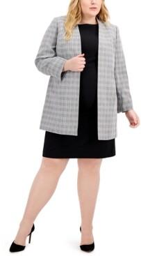 Le Suit Plus Size Plaid Tweed Jacket Dress Suit
