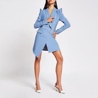 River Island Womens Blue embellished puff sleeve blazer dress