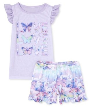 The Children's Place The Childrens Place Girls 4-16 2-Piece Pajama Top & Short Set