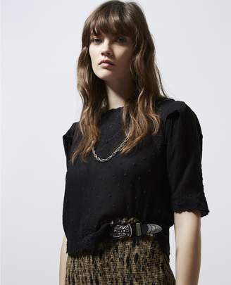 The Kooples Black embroidered crop top w/short sleeves