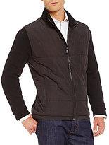 Hart Schaffner Marx Mixed Media Full-Zip Mock Neck Long-Sleeve Sweater