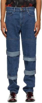Y/Project Navy Classic Multi Cuff Jeans