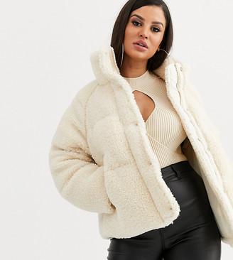 Asos DESIGN Petite fleece puffer jacket in cream-Green