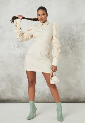 Missguided Stone Puff Sleeve A Line Shirt Dress