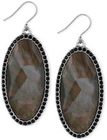 Lucky Brand Large Oval Stone and Pavé Drop Earrings