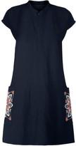 Amsterdam Spring Mandala Embroidered Raw Silk Shift Dress