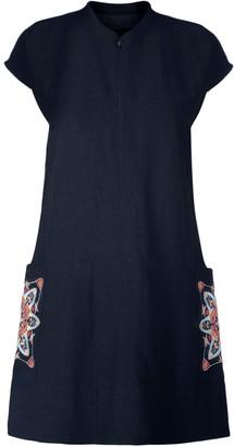 Gisy Amsterdam Spring Mandala Embroidered Raw Silk Shift Dress
