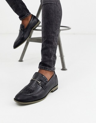 New Look faux croc snaffle loafer in black
