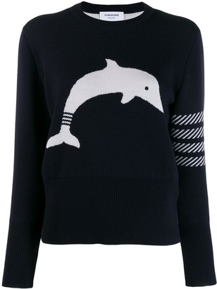 Thom Browne 4-Bar stripe dolphin-motif jumper