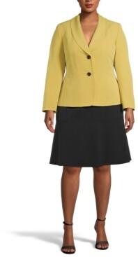Le Suit Plus Size Two-Button Shawl-Collar Skirt Suit