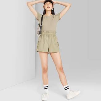 Woen's High-Rise Utility Paperbag Shorts - Wild FableTM Olive
