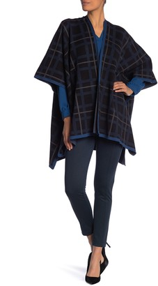 Anne Klein Plaid Sweater Cape