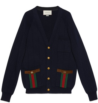 Gucci Knit wool blend cardigan with Web
