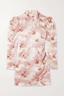 Reformation Livie Tie-detailed Printed Silk-satin Mini Dress - Pink