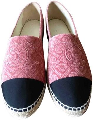 Chanel Pink Velvet Espadrilles
