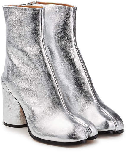 Maison Margiela Metallic Leather Split Toe Ankle Boots