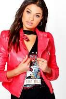 Boohoo Kayla Quilted Sleeve Faux Leather Biker Jacket