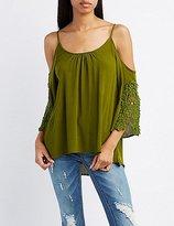 Charlotte Russe Crochet-Trim Cold Shoulder Top