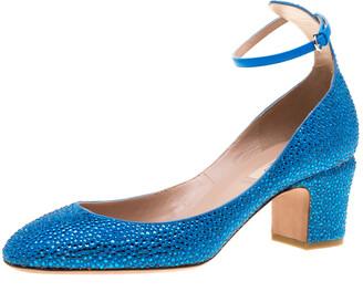 Valentino Blue Crystal Embellished Suede Block Heel Ankle Strap Pumps Size 40