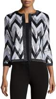 Michael Simon Zigzag-Sequined Jacket, Petite