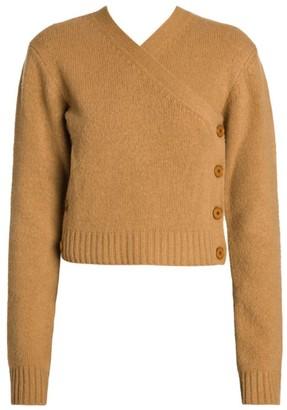 Bottega Veneta Brushed Wool Asymmetrical Cardigan