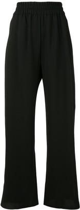 Mark Kenly Domino Tan Elasticated-Waist Flared Trousers
