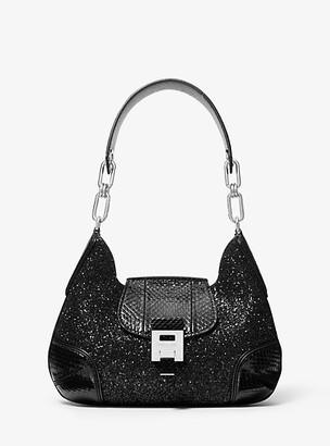 Michael Kors Bancroft Medium Glitter and Snakeskin Shoulder Bag