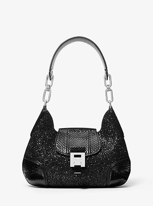Michael Kors Bancroft Medium Glitter and Snakeskin Shoulder Bag - Black