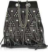 Jerome Dreyfuss Popeye Black Patchwork Bucket Bag w/Studs and Fringes