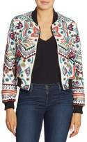Alice + Olivia Lonnie Embellished Cropped Silk Bomber Jacket