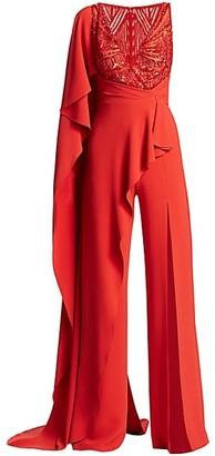 ZUHAIR MURAD Embellished V-Neck Cape Jumpsuit