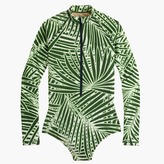 J.Crew Long-torso long-sleeve one-piece swimsuit in palm leaf print