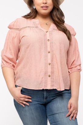 Blu Pepper Elbow Sleeve Lace Inset Blouse (Plus Size)