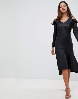 Closet London v-neck cold shoulder high low peplum dress-Black